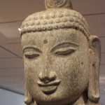 India - Sculpture head, Buddha meditating, India 12th century
