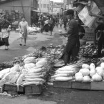 black-and-white photography of outdoor vegetable market, Naha. Okinawa Pref., 1960s