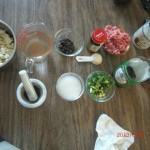 Mise en Place for making Ma Po Bean Curd